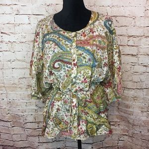 Lucky Brand 100% Silk Blouse Paisley  Batwing S